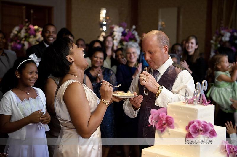 funny wedding cake cutting