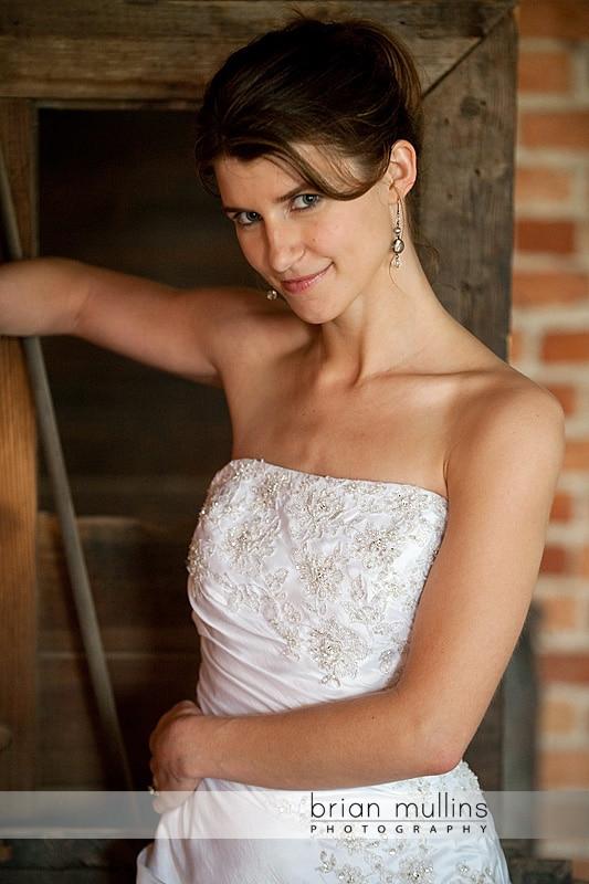 Bride in warehouse