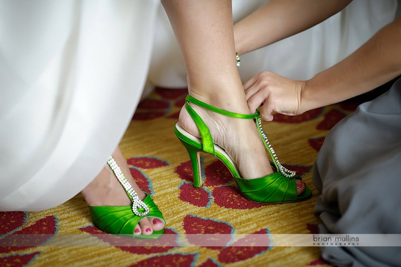 green bridal shoes with rhinestones