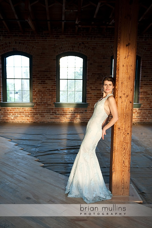 Bride against post in warehouse