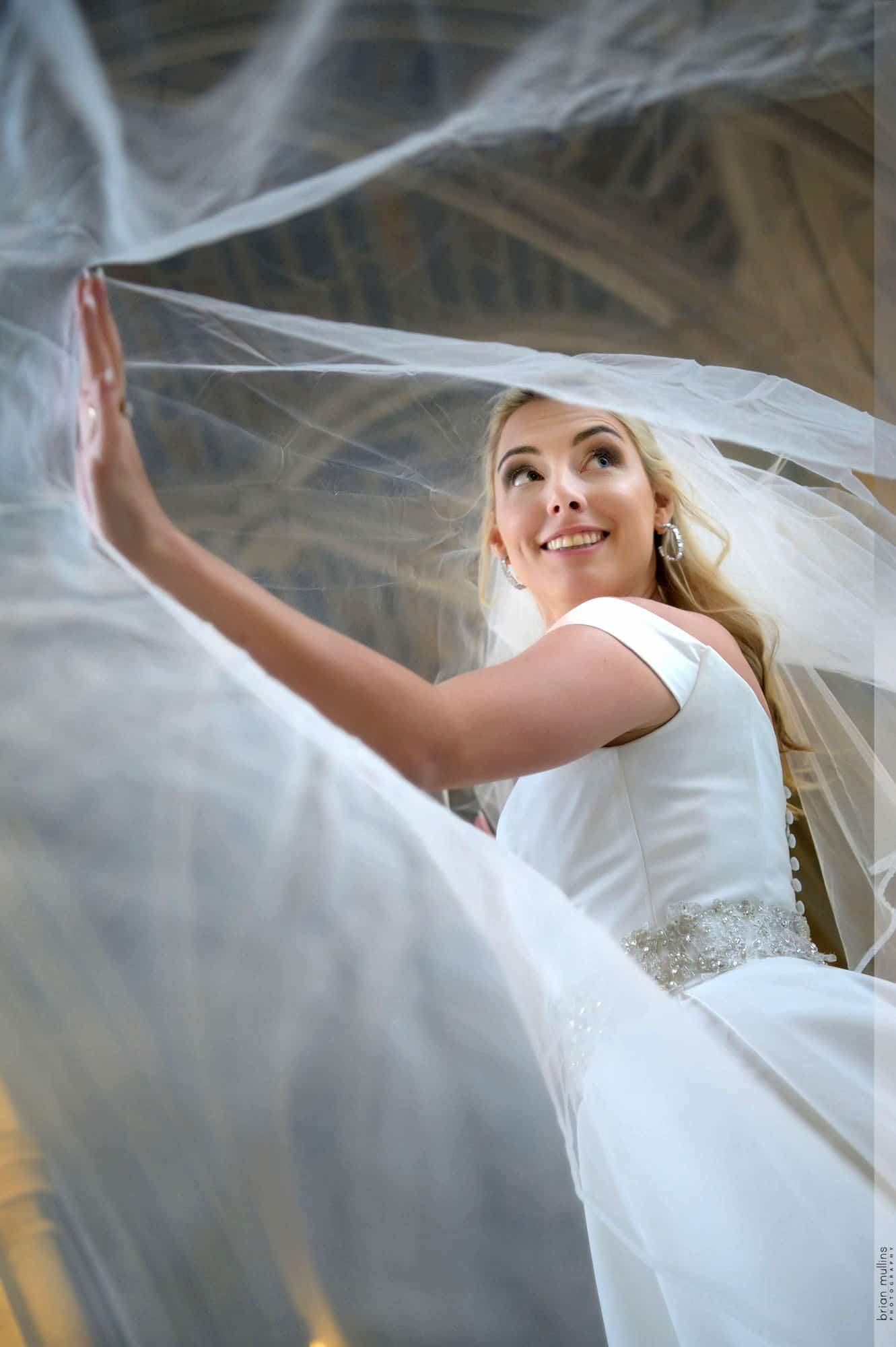 duke chapel wedding | bride in arcade