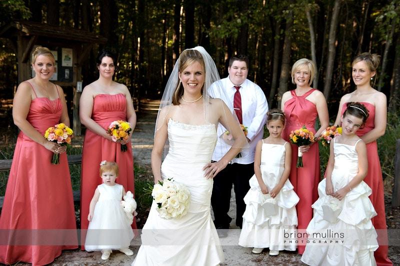 bridesmaids at lake crabtree