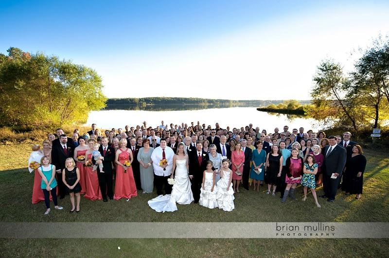 large wedding group photo