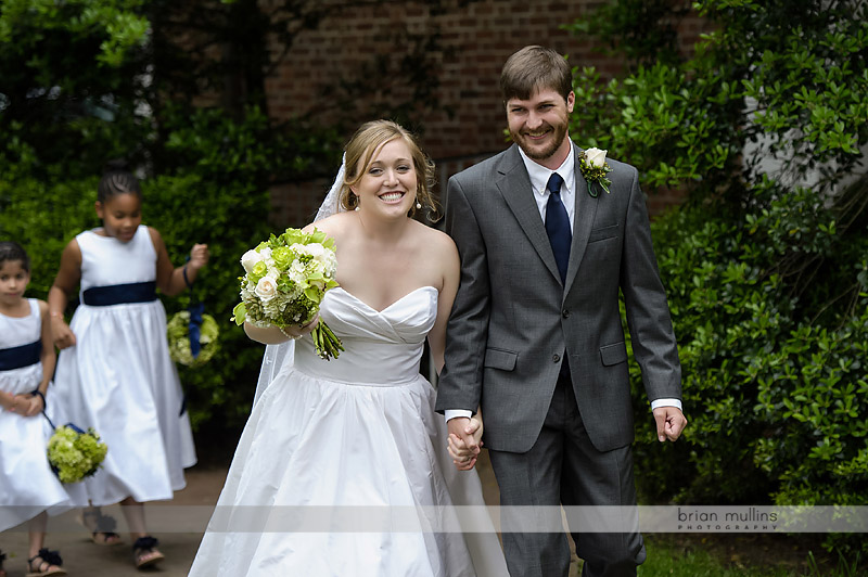 bride and groom meredith college campus