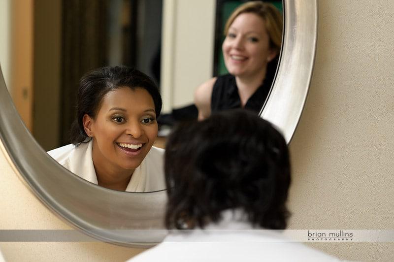 bride sees her wedding day makeup