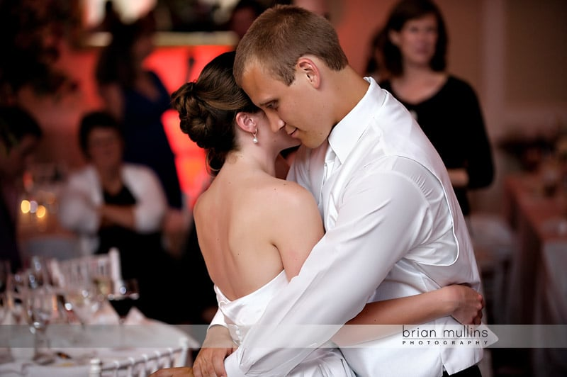 intimate moment at wedding reception