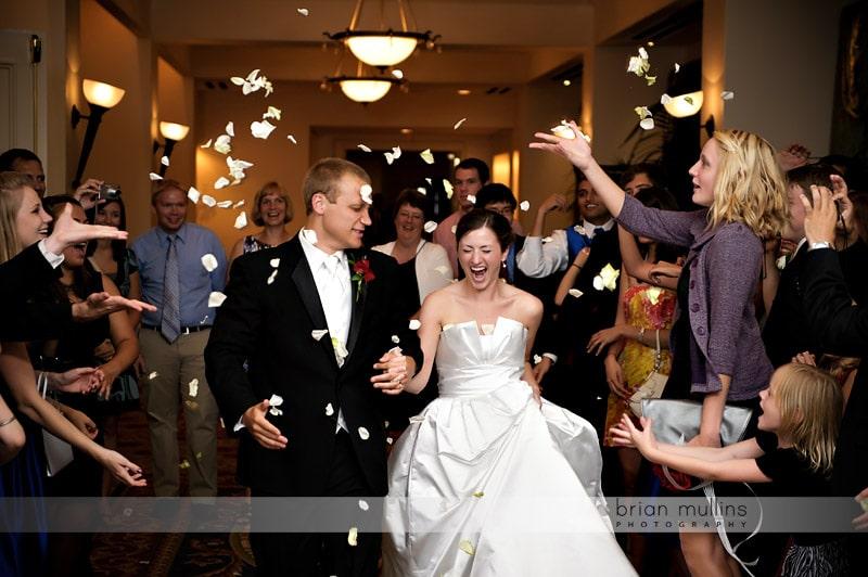 rose petal exit at wedding