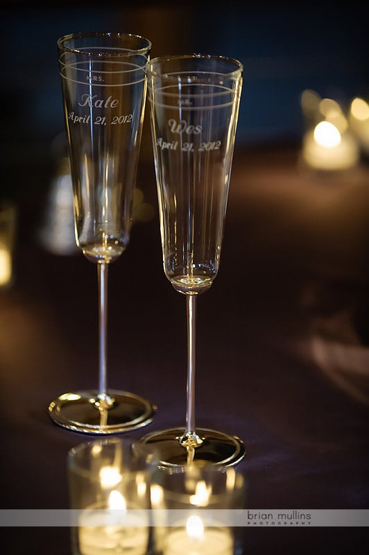 champagne flutes with names