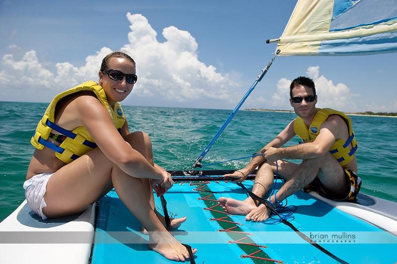 sailing before wedding ceremony