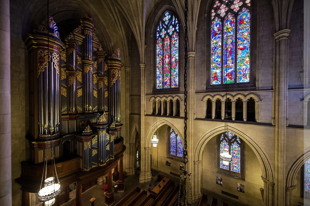 the organ and stained glass windows at duke chapel
