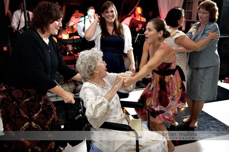 grandma in wheelchair at wedding
