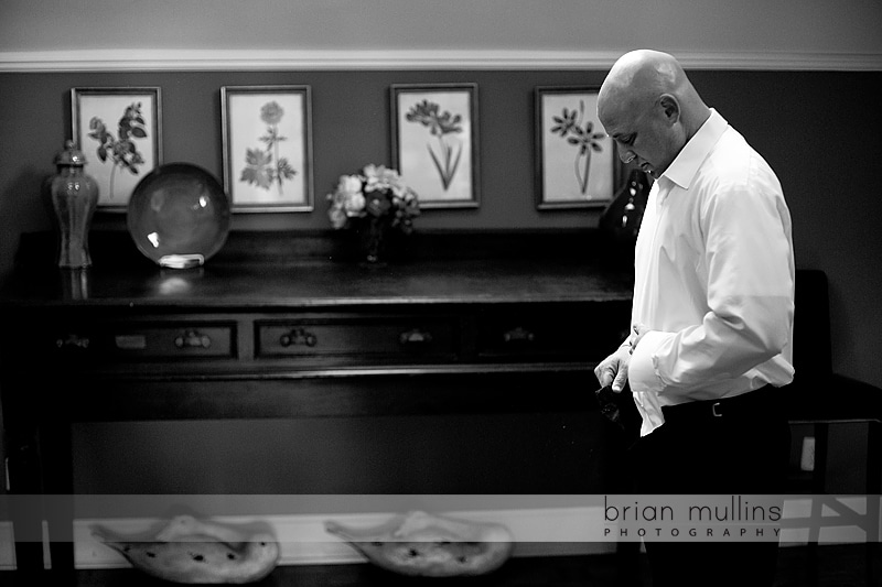 groom getting ready at Fearrington
