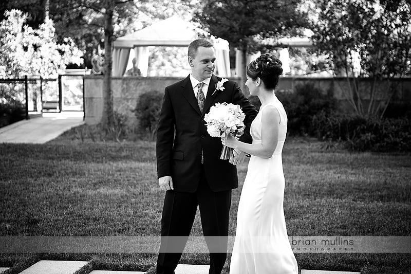 bride meets groom halfway up the aisle