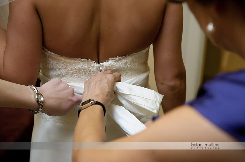 bows on wedding gown