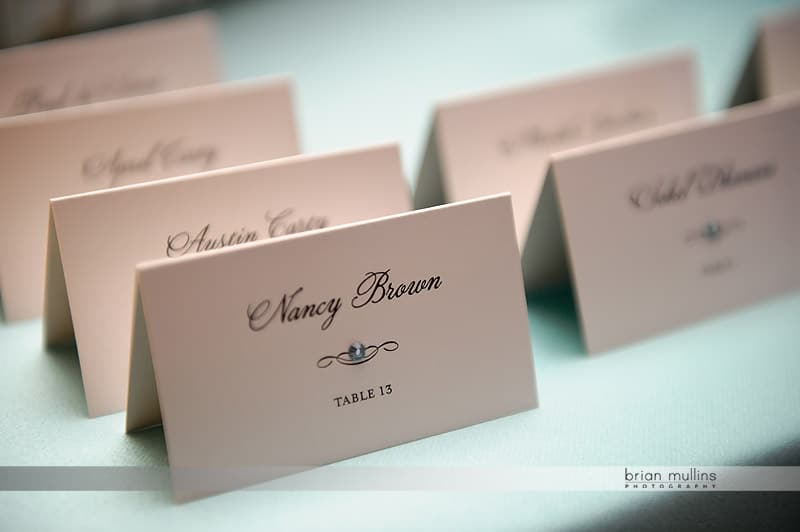 wedding name cards with jewels