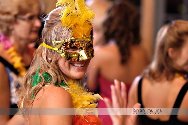 masks at wedding reception