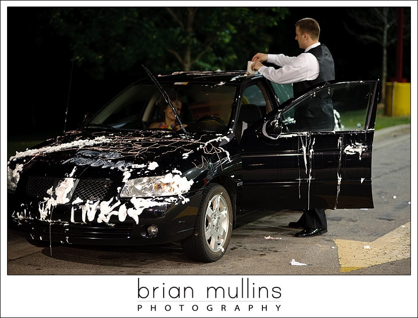 Cleaning trashed car after wedding