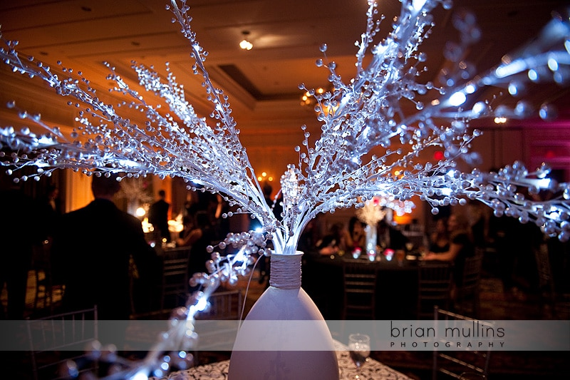 wedding reception centerpiece by watered garden