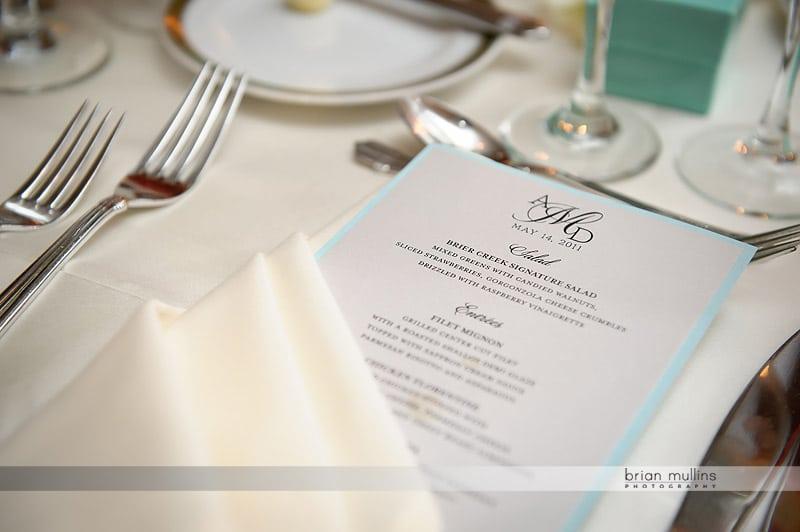 pretty wedding menu card