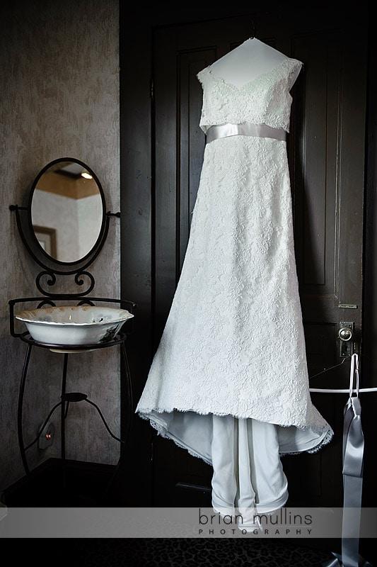 wedding dress at Preston Woodall House