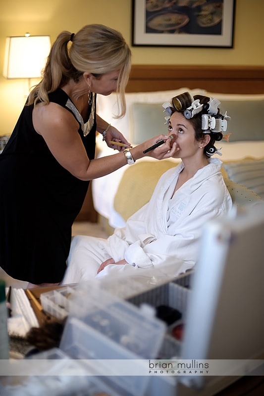 bride getting ready at umstead hotel