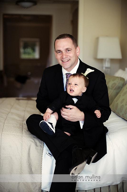 groom and nephew before wedding