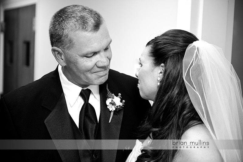 bride sees father on wedding day