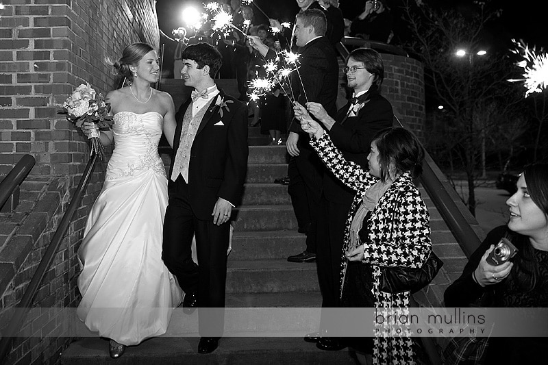sparkler exit at wedding reception at the Royal in Raleigh