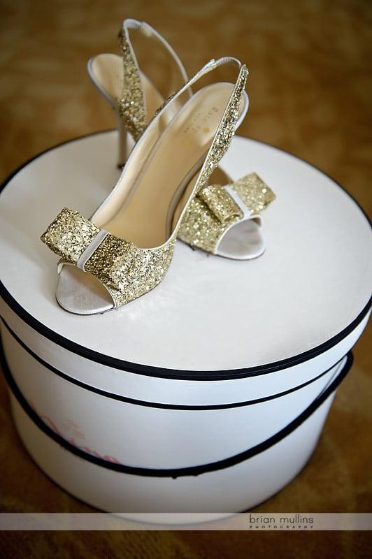 gold shiny wedding shoes