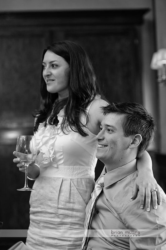bride and groom at Maggiano's rehearsal dinner