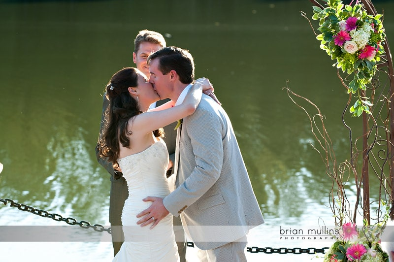 kiss at wedding ceremony