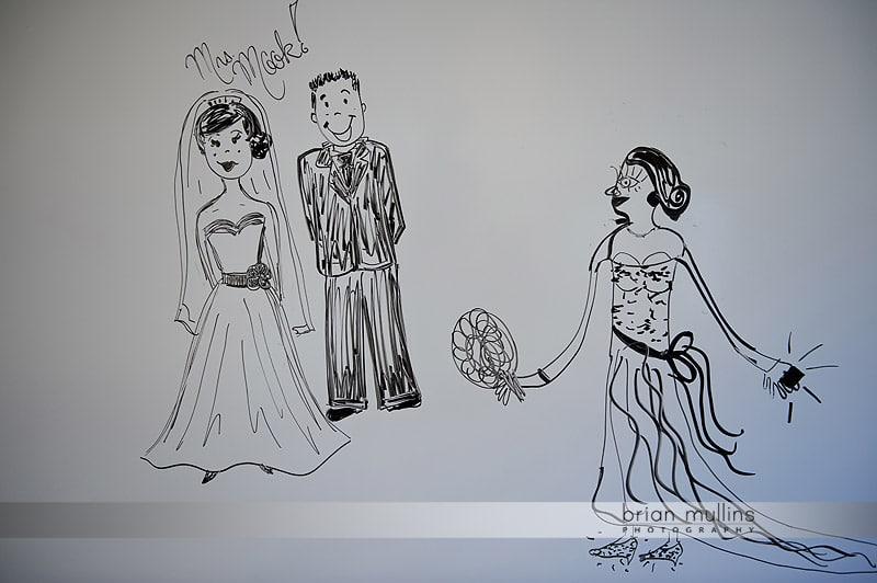 wedding drawing on whiteboard
