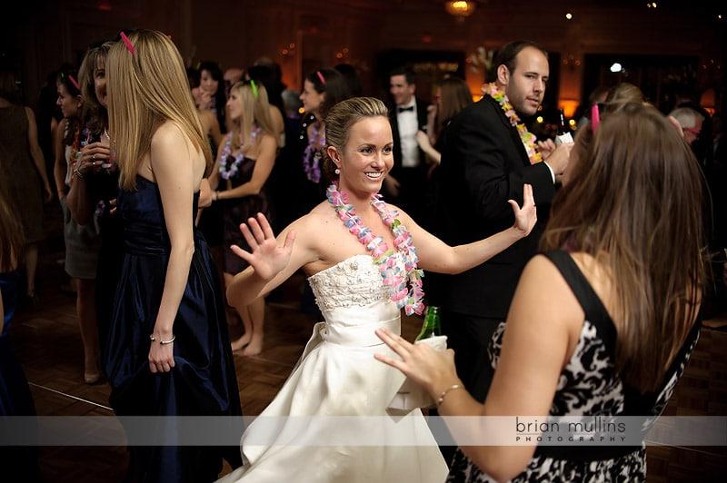 bride dancing at washington duke inn wedding reception