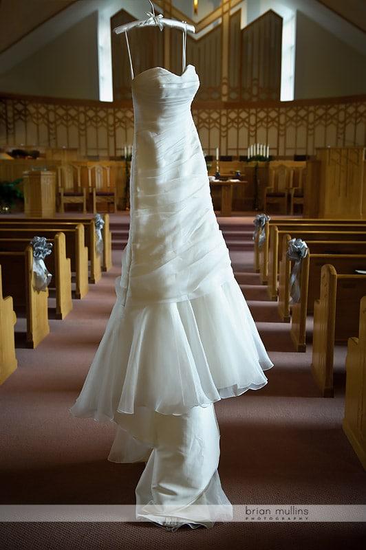 strapless white wedding gown