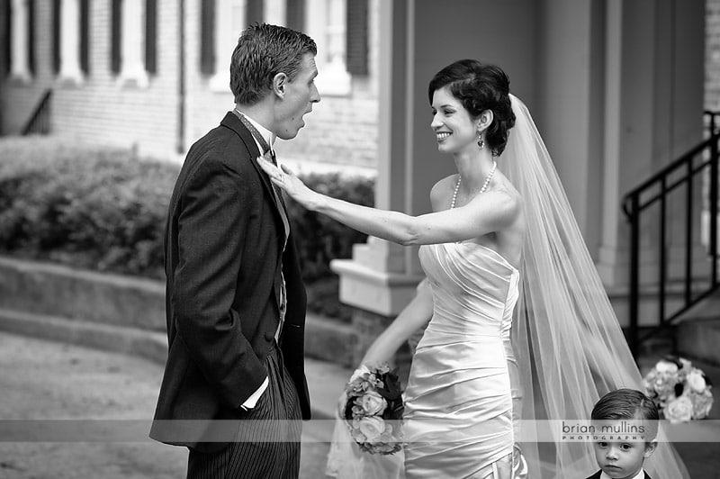bride and groom meet at the Carolina Inn