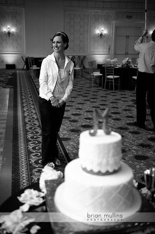 bride sees wedding reception