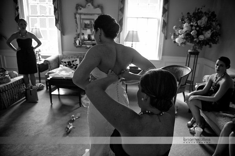 bride getting ready at church