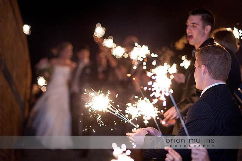 sparkler exit at wedding reception in Raleigh