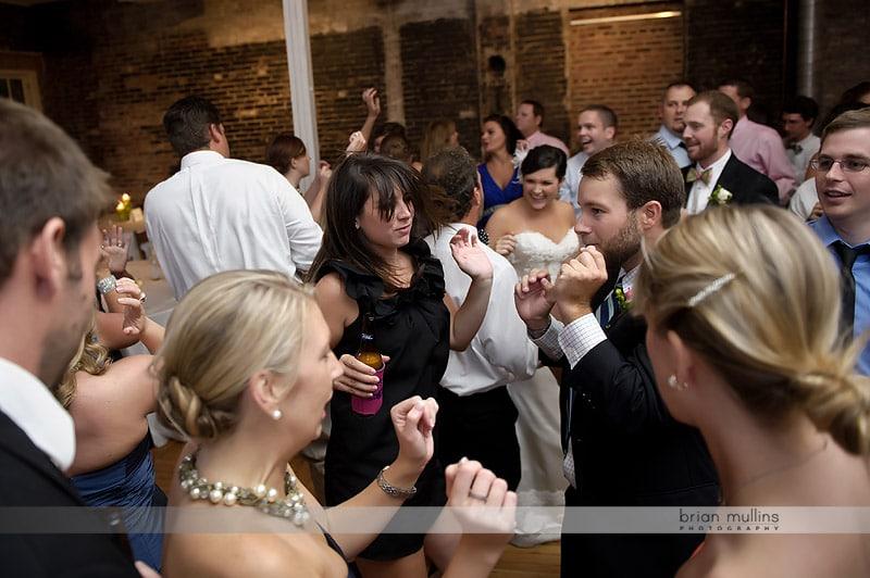 dancing at a stockroom wedding reception