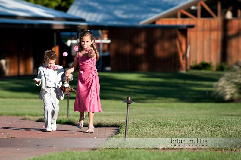 flower girl at angus barn pavilion wedding
