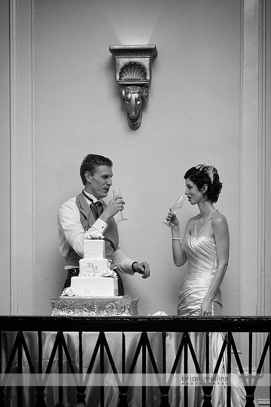 bride and groom toast at wedding