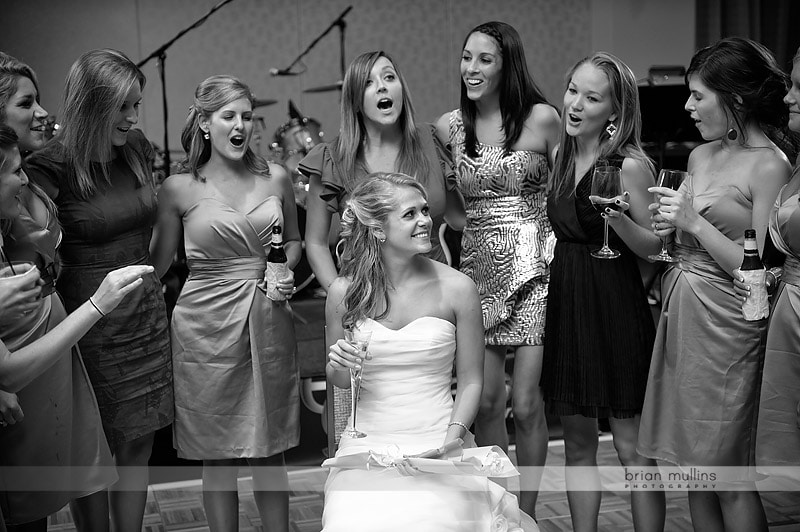 sorority sisters singing to bride