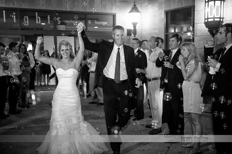 wedding exits with bubbles
