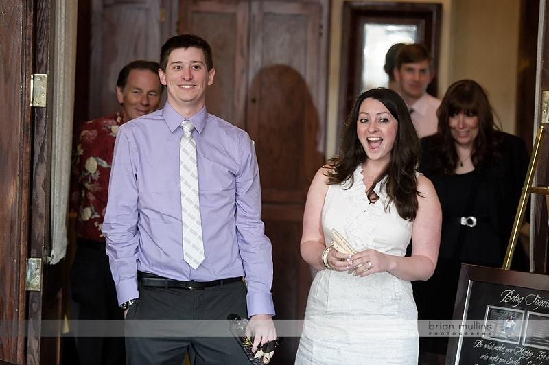 bride and groom see dinner room