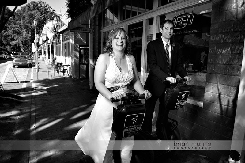 wedding couple on segway
