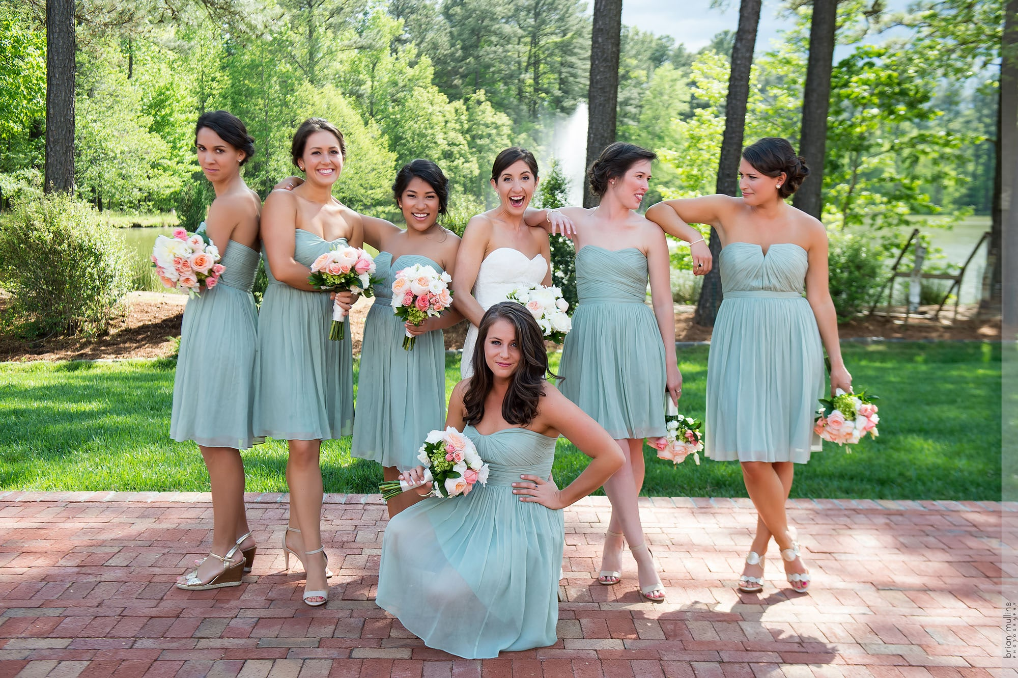 bride with bridesmaids at angus barn pavilion