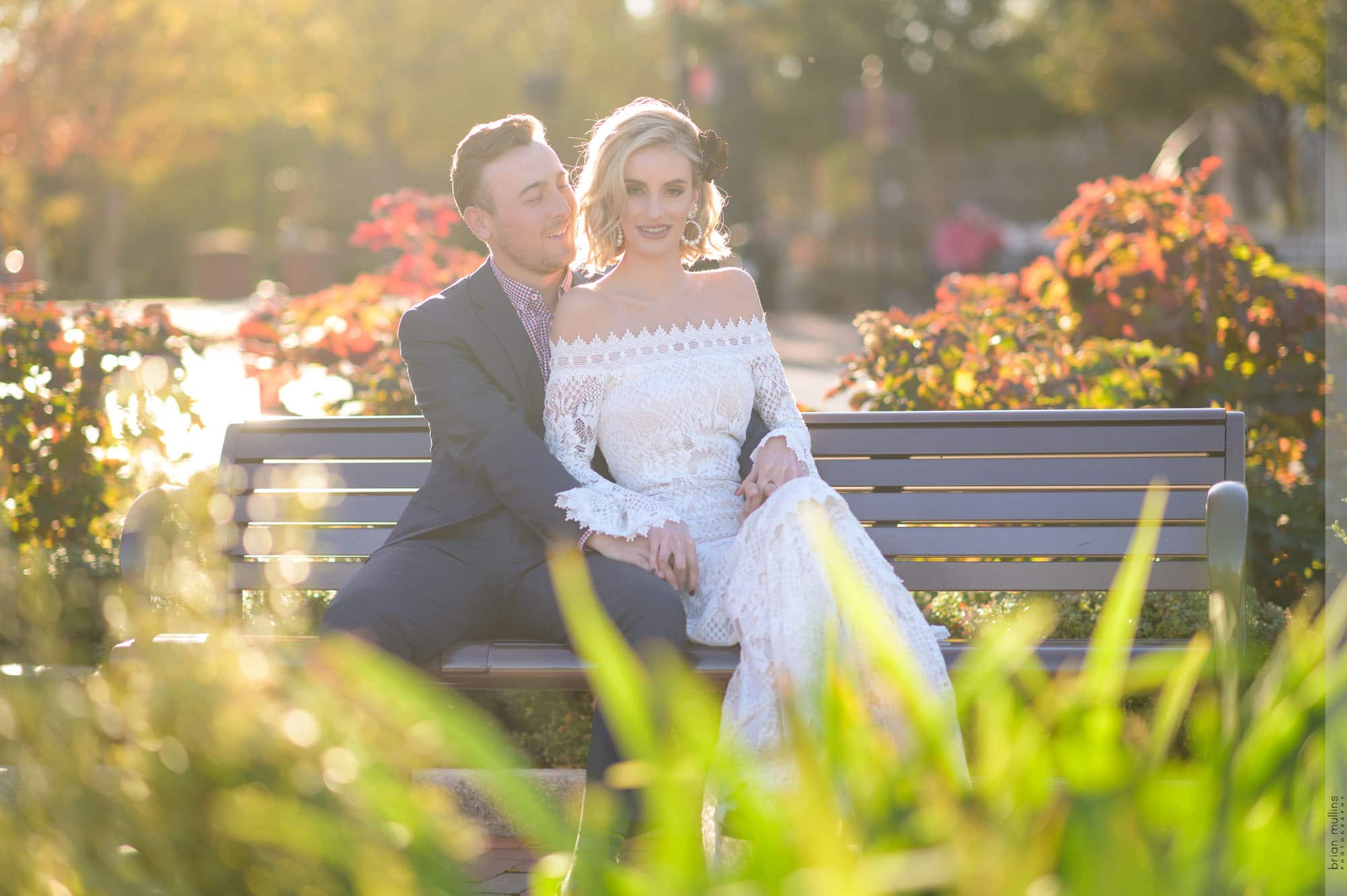 downtown cary park engagement session photo