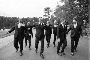 groom with groomsmen at angus barn wedding