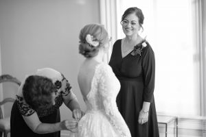 emotional moment with bride and grooms mom