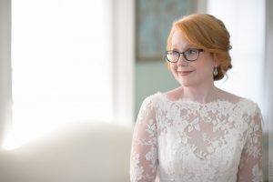redhead bride with glasses